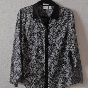 CHICO'S Black/White Long Sleeve Blouse